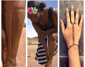 Distressed Bronze Arrows - Dusty Dirty Chevron - Leg Chain, Calf Jewelry - Multiple Sizes or Custom  + Optional Hand Bracelet!