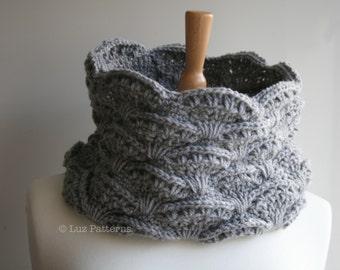 Crochet pattern, girl women lace cowl pattern, scarf crochet pattern, crochet cowl pattern (126) Instant Download