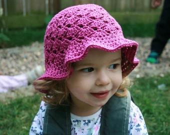 Crochet pattern, Crochet patterns, Crochet hat pattern vintage crochet summer hat pattern floppy summer hat 5 sizes newborn to adult (60)