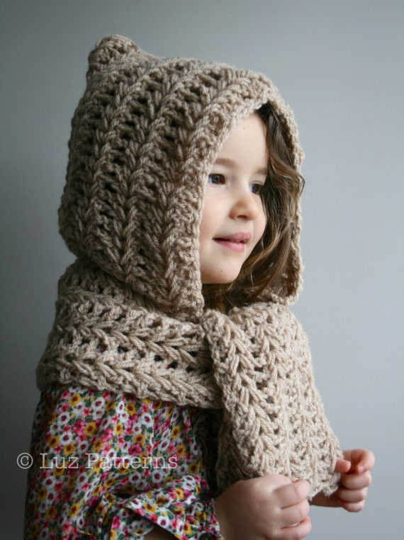 Crochet Pattern Instant Download Crochet Hat Pattern Hooded Scarf