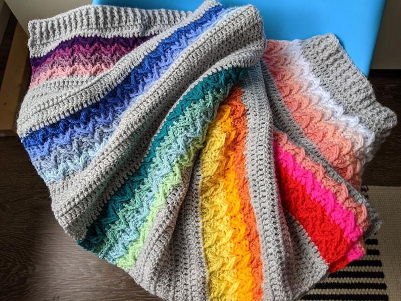 Crochet pattern A silver rainbow blanket crochet pattern image 0