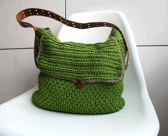 Crochet Pattern Crochet Bag Pattern Leather Handle Carry All Etsy