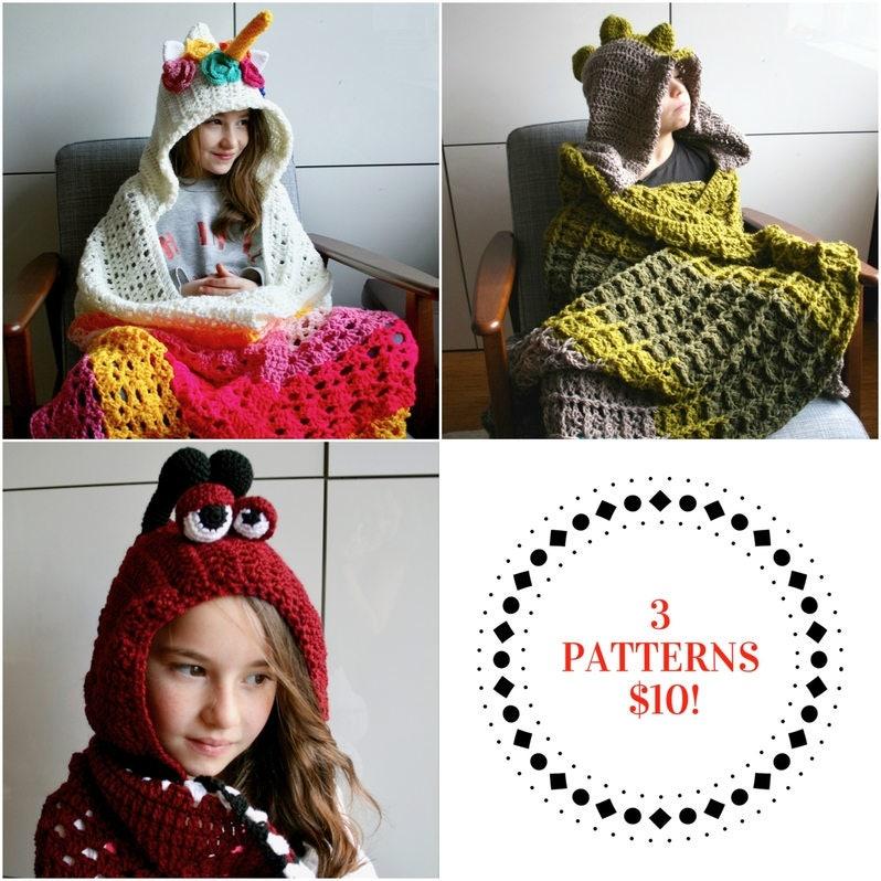 Crochet Patterns Sale 3 Crochet Blanket Patterns Unicorn Etsy