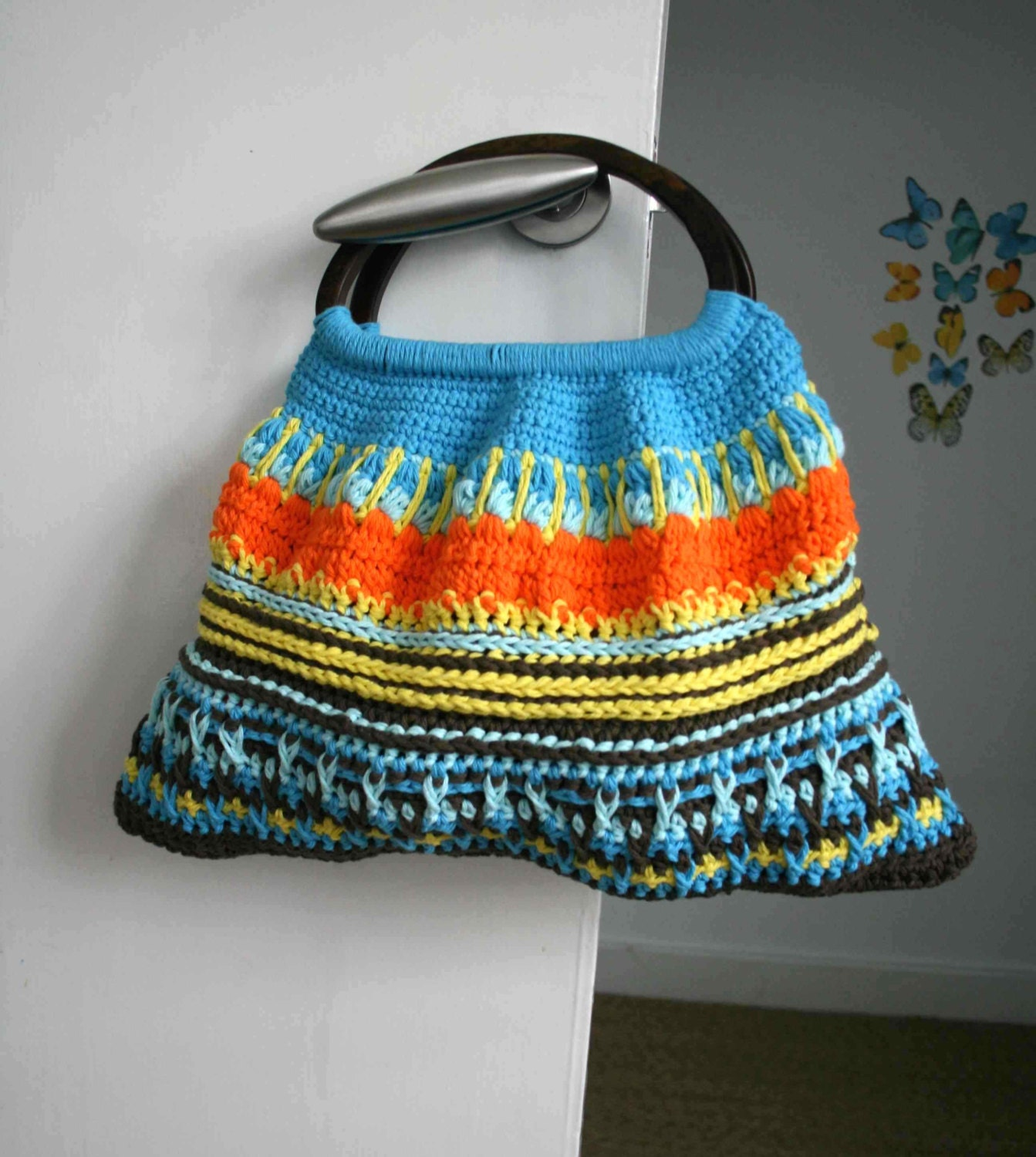 Crochet Pattern Wooden Handle Crochet Purse Retro Style Etsy