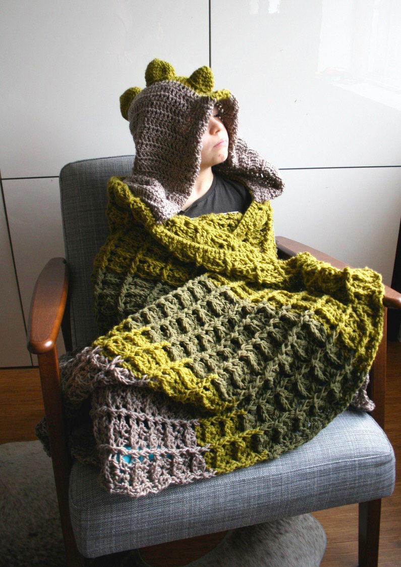 Dinosaur Blanket Crochet Pattern Dino Hooded Blanket Crochet Etsy
