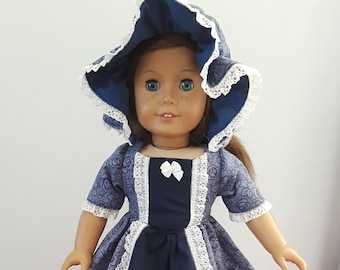 """Two Tone Blue Colonial with Duster Cap fits AG or 18"""" doll"""