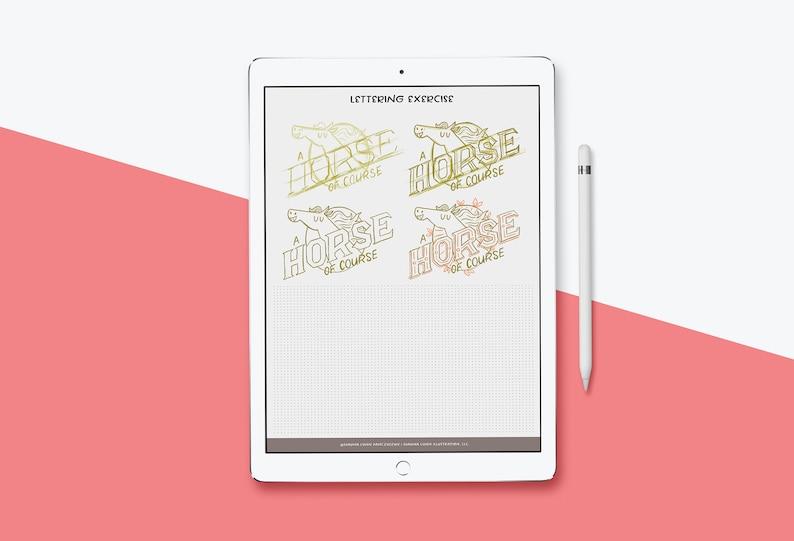 Serif Digital Lettering Worksheet for Procreate and Photoshop