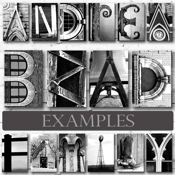 4x6 Letter Photos for DIY Name Art Signs Custom Wall Art. Letter Art Alphabet Photos by NameArt