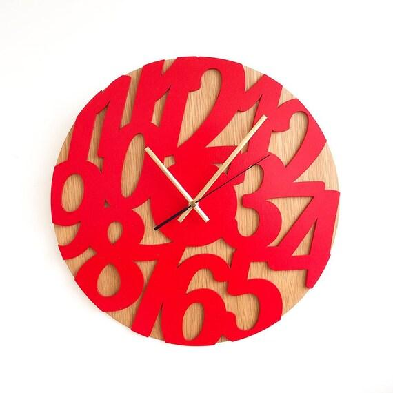 15.7 In Rot Holz Wanduhr Moderne Wanduhr Uhren Für Wand | Etsy
