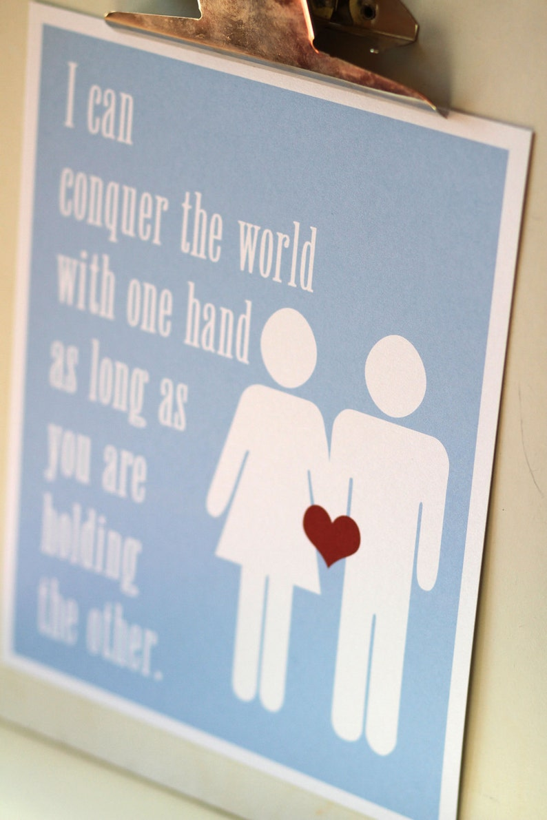LOVE Print   I can conquer the world with one hand  Wall Art image 0
