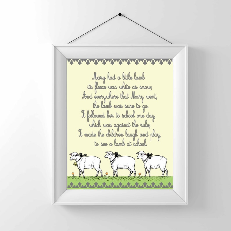 Nursery Print  Nursery Rhyme Mary had a little lamb  image 0