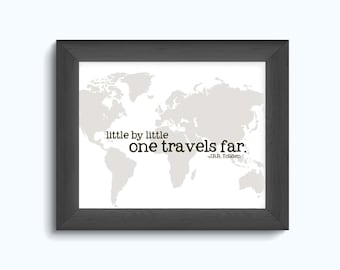 Travel Print - Map - J.R.R. Tolkien - Home decor - Adventure - world traveler - little by little one travels far - black and white - sepia