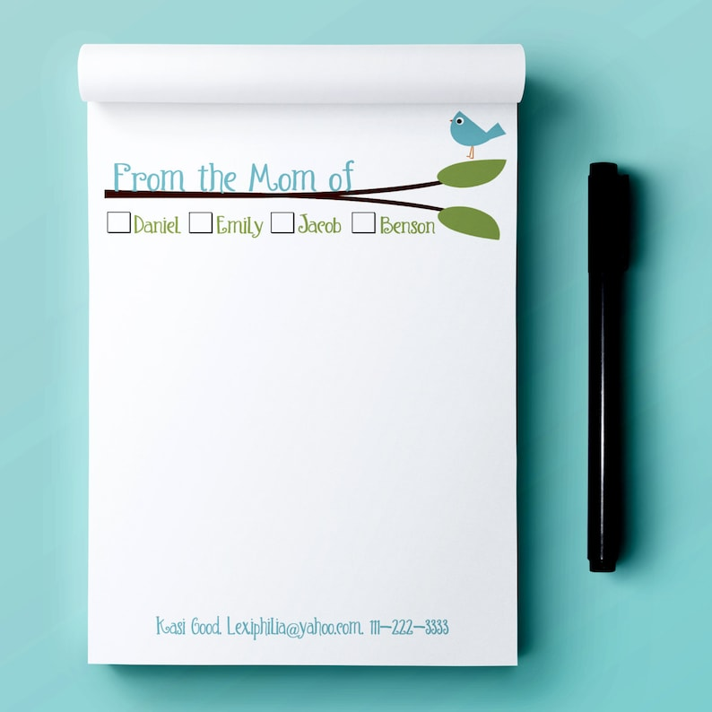 Personalized From the MOM of Notepads  notepad  mom notepad image 0