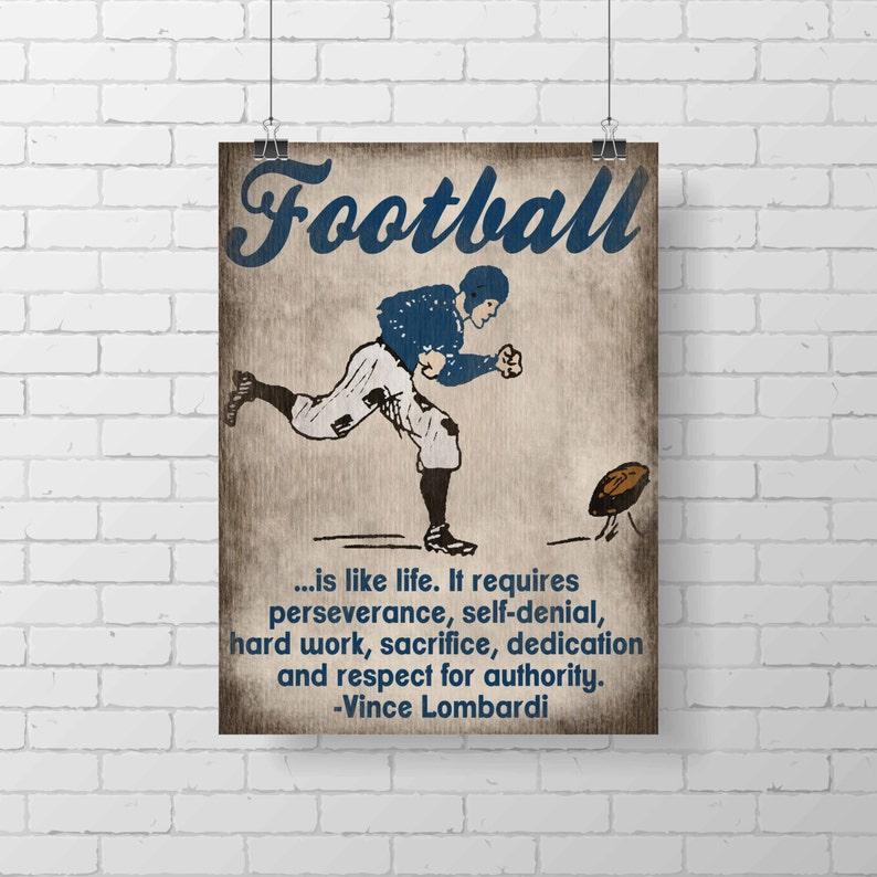 Sport Art Print  PRINTABLE  Kids Football Room Decor  Vince image 0