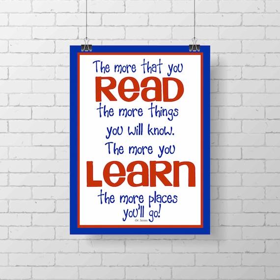 Dr Seuss Quotes Love Quotes On Canvas Original Painting 11x14: Dr. Seuss Print The More That You READ Children Art Print