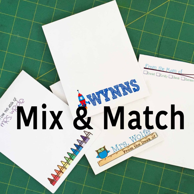Mix & Match Notepads  Set of FOUR Teacher kid  Mom image 0