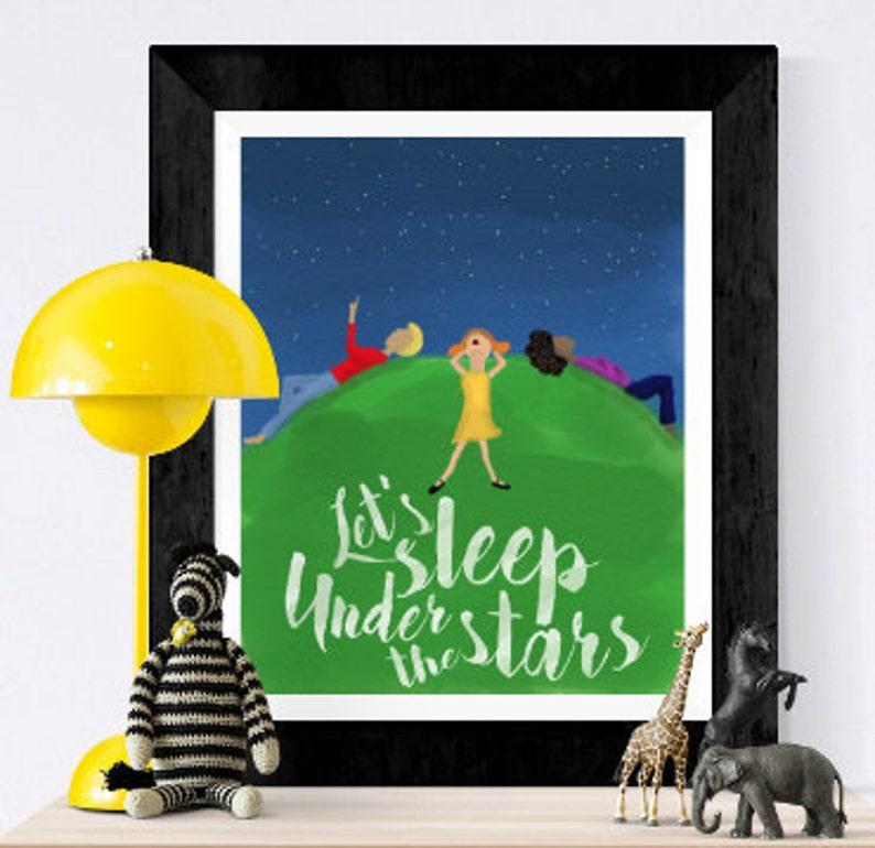Nursery print  Stars and constellations  let's sleep image 0