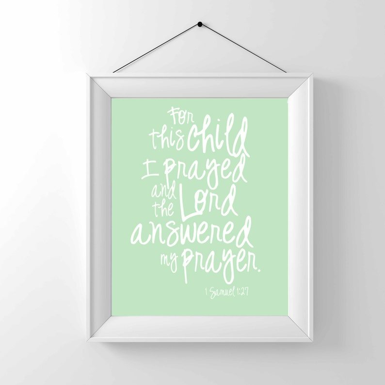 Printable Download only  For this child I prayed 1 Samuel image 0