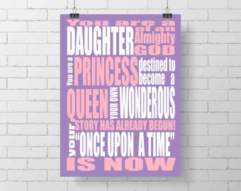 Princess Print - You are a Princess - Once Upon A Time - Uchtdorf quote - girl decor - girl nursery - custom - pink purple - typography art