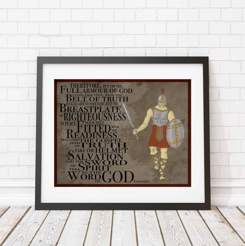 Christian print  Armour of God  wall print  Children's image 0