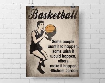 Sport Print - Vintage Basketball Art Print - Kids Basketball Room Decor - Michael Jordan Quote