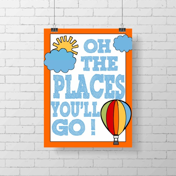 Dr Seuss Quotes Love Quotes On Canvas Original Painting 11x14: Dr. Seuss Print Oh The Places You'll Go Inspirational