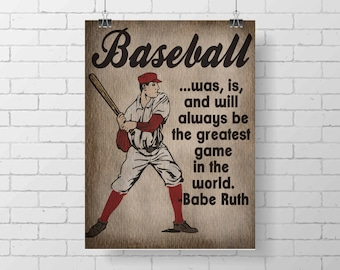Sport Print- Vintage Baseball Print - Kids Room Decor - Babe Ruth Quote - sports - baseball print decor - illustration