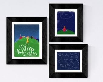 SET OF THREE coordinating Nursery prints - Stars and constellations -stargazing watercolor illustration - let's sleep under the stars