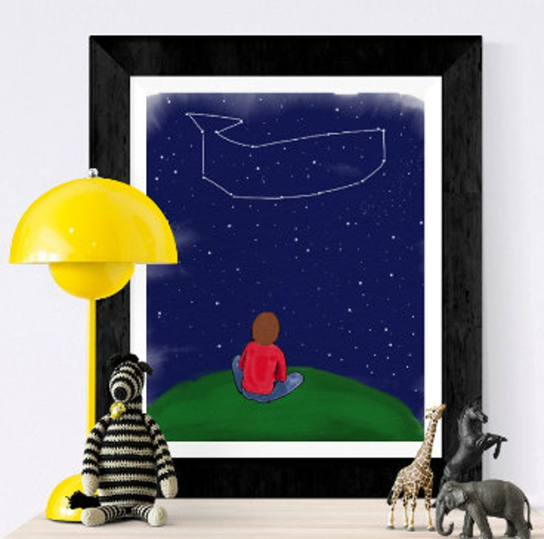 Nursery print  Stars and constellations  whale constellation image 0