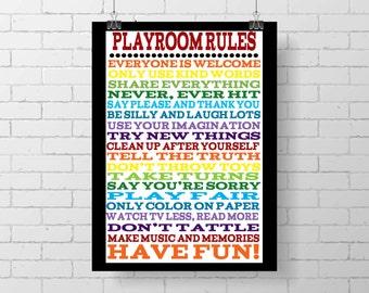 Playroom rules poster - rainbow art - kid decor - kid print - wall decor print - typography