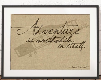 Vintage Adventure Print - Airplane - Amelia Earhart - Travel decor - travel themed nursery - adventure is worthwhile - aviation