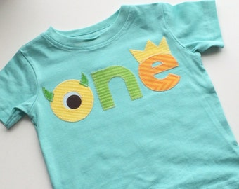 Ready to ship Monster Birthday Shirt First Ready to ship Birthday Green aqua Shirt photo prop