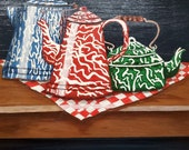Vintage Hand painted enamel coffee pots and one tea pot unique art painted on wood board with wood frame