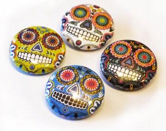 Set of 4 Sugar Skull Pinback Buttons