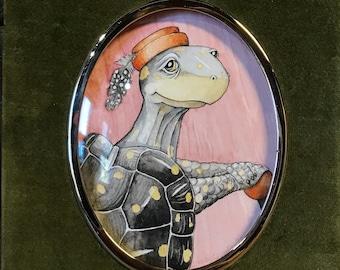 Ella the Spotted Turtle, original watercolor painting in vintage velvet frame