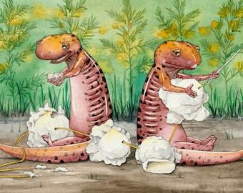 Garland Games, original watercolor painting of red salamanders stringing popcorn for garland.