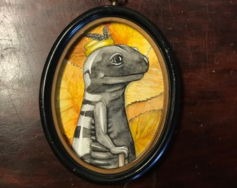 The Marbled Squire in Profile, OOAK watercolor painting of a marbled salamander wearing a hat