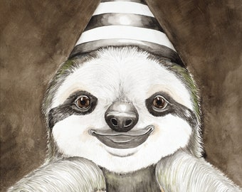 The Masquerade Sloth, original watercolor painting of sloth wearing a party hat in vintage frame