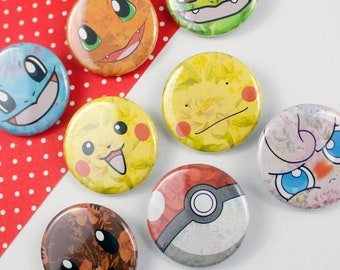 """Floral Pokemon 1.25"""" Buttons"""