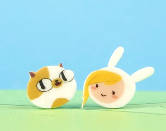 Adventure Time Fionna and Cake Earrings