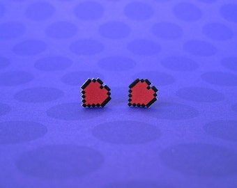 Legend of Zelda Pixel Heart Earrings