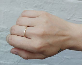 9ct Yellow Gold Square Wedding Ring Band - Stacking, Simple, Delicate
