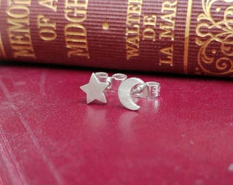 Sterling Silver Star And Crescent Moon Stud Earrings