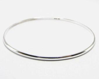 Sterling Silver Plain D Shape Hallmarked Stacking Bangle Bracelet