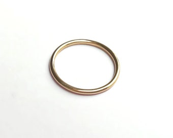 9ct Yellow Gold Halo Wedding Ring Band - Stacking, Simple, Delicate
