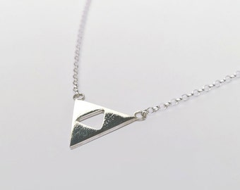 Sterling Silver Zelda Triforce Geometric Pendant Necklace - Triangle, Geek, Gamer.