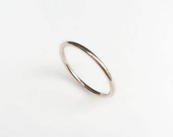 9ct White Gold Halo Ring - Stacking, Simple, Delicate, Wedding Band