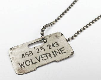 Sterling Silver Wolverine Replica Dog Tag Necklace - Comicbook, Geek, Prop