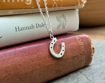 Mini Horseshoe Pendant Necklace, Hand Crafted In Sterling Silver. Perfect Equestrian Or Groom Gift