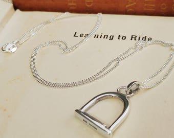 Sterling Silver Stirrup Equestrian Hallmarked Pendant Necklace